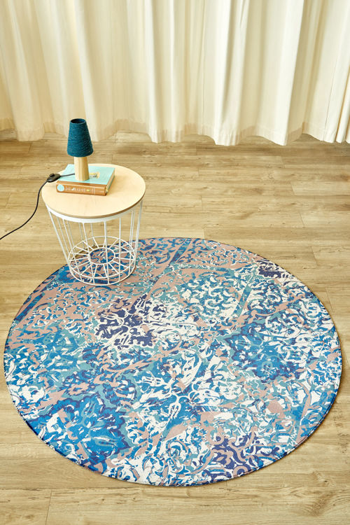 Picture of DISTRESSED DAMASK CIRCLE (PRINTED RUG)