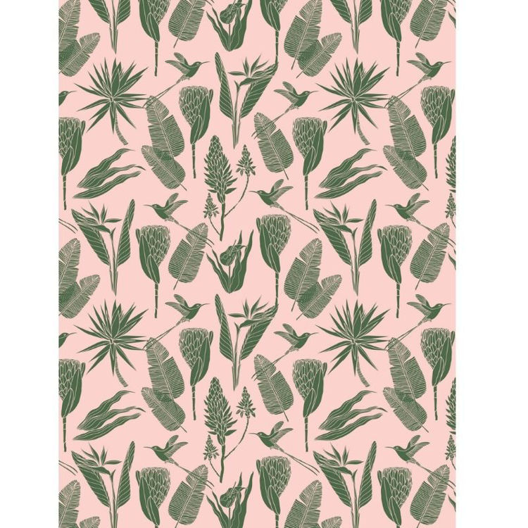 Picture of BOTANICALS GREEN ON PINK (PRINTED RUG)